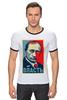"""Футболка """"Рингер"""" (Мужская) """"Путин, Власть"""" - россия, russia, президент, obey, putin"""
