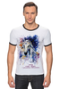"""Футболка """"Рингер"""" (Мужская) """"Год лошади (с надписью)                        """" - арт, новый год, год лошади, символ 2014"""