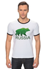 "Футболка Рингер ""Россия, Russia"" - bear, медведь, мишка, русский, патриот, лес, россия, russia, путин, тайга"