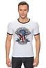 "Футболка ""Рингер"" (Мужская) ""Skull Art"" - skull, череп, usa, американский флаг, american flag"