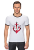 """Футболка Рингер """"Красный якорь"""" - море, якорь, anchor, sailor"""