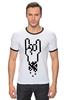 """Футболка """"Рингер"""" (Мужская) """"Rock 8-bit"""" - geek, пиксель арт, 8-бит, коза, пиксельная графика"""
