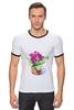 """Футболка """"Рингер"""" (Мужская) """"цветы """" - арт, цветы, акварель, герань"""
