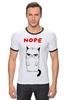 """Футболка """"Рингер"""" (Мужская) """"Угрюмый Кот"""" - мем, коты, grumpy cat, nope, угрюмый кот"""