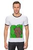 """Футболка """"Рингер"""" (Мужская) """"Медведь из кустов"""" - медведь, распутница, медведь из кустов, блудница"""