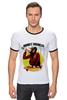"""Футболка Рингер """"Monkey (Обезьяна)"""" - скейтборд, обезьяна, monkey, skateboard"""