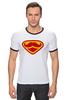 """Футболка Рингер """"Супермен-усач-бородач"""" - супермен, superman, борода, усы, бородач"""
