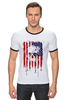 "Футболка ""Рингер"" (Мужская) ""Американский череп"" - skull, череп, америка, usa, флаг"
