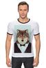 """Футболка """"Рингер"""" (Мужская) """"Деловой волк"""" - бабочка, смокинг, волк, wolf, деловой"""