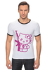 "Футболка Рингер ""Hello Kitty AK-47"" - hello kitty, ak 47, angry kitty"