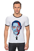 "Футболка ""Рингер"" (Мужская) ""Барак Обама"" - арт, usa, сша, президент, president, barack obama"