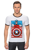 "Футболка ""Рингер"" (Мужская) ""Капитан Америка. Винтаж"" - comics, marvel, poster, марвел, vintage, капитан америка, captain america"