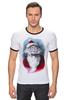 """Футболка """"Рингер"""" (Мужская) """"Funny Santa"""" - новый год, santa claus, санта-клаус"""