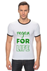 "Футболка Рингер ""Vegan for life"" - веган, vegan"