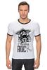 "Футболка Рингер ""I Wanna Rock W"" - череп, черепа, рок, rock, rock n roll"