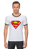 "Футболка Рингер ""Супермен"" - супермен, superman, логотип"