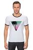 "Футболка ""Рингер"" (Мужская) ""Miami Triangle"" - пальмы, miami, майами"