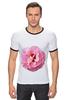 """Футболка """"Рингер"""" (Мужская) """"Розовый бутон"""" - лето, цветы, розовый"""