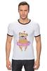 """Футболка Рингер """"Мопс в юбке"""" - сердце, pug, гламур, собачки, мопс"""