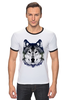 "Футболка Рингер ""Серый Волк"" - животные, animal, волк, wolf"