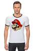 "Футболка ""Рингер"" (Мужская) ""Марио (Mario)"" - nintendo, mario, mario bros, братья марио"