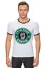 """Футболка """"Рингер"""" (Мужская) """"нах этот кофе (f**k that coffee)"""" - скелет, пародия, кофе, starbucks, старбакс"""