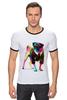 """Футболка """"Рингер"""" (Мужская) """"Мопс-космос"""" - радуга, dog, pug, космос, собака, цветная, мопс, suit"""