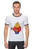 "Футболка Рингер ""Fat Legoman"" - lego, обжорство, лего"