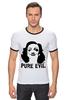 "Футболка ""Рингер"" (Мужская) ""Pure Evil"" - граффити, дизайн, винтаж, марлен дитрих, pure evil"