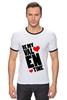 "Футболка ""Рингер"" (Мужская) ""Be my Valentine                   "" - любовь, арт, сердца, день святого валентина, 14 февраля, рисунок, valentine's day"