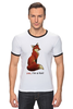 """Футболка """"Рингер"""" (Мужская) """"Лисичка"""" - fox, лиса, лисичка, i am a fox"""