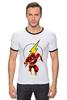 "Футболка ""Рингер"" (Мужская) ""The Flash (Молния)"" - flash, молния, dc, флэш"