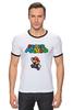 "Футболка ""Рингер"" (Мужская) ""Super Mario"" - mario, dendy, марио, mario bros, 8bit"