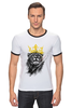 """Футболка Рингер """"Лев в короне"""" - king, корона, лев, царь зверей, crown"""