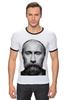 """Футболка """"Рингер"""" (Мужская) """"ВВП с бородой"""" - путин, борода, putin, beard"""