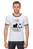"Футболка Рингер ""Я ненавижу утро"" - панда, panda, я ненавижу утро, i hate mornings"