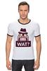 """Футболка """"Рингер"""" (Мужская) """"WAT?              """" - вопрос, шляпа"""