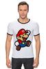 """Футболка Рингер """"Марио (Mario)"""" - nintendo, 90's, марио, mario bros"""