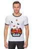 """Футболка Рингер """"Гриб из Марио (Тетрис)"""" - гриб, mario, марио, tetris, тетрис"""