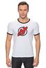 """Футболка """"Рингер"""" (Мужская) """"NJ Devils"""" - хоккей, спортивная, nhl, нхл, devils, нью джерси, nj"""