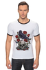 "Футболка ""Рингер"" (Мужская) ""Череп и ворон"" - skull, арт, авторские майки, black, red, tattoo, тату, розы, raven, roses"