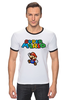 "Футболка ""Рингер"" (Мужская) ""Super Mario"" - денди, dendy, марио, mario bros, 8bit"