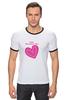 "Футболка ""Рингер"" (Мужская) """"LOVE"""" - праздник, день святого валентина, 14-февраля, розовое сердце"