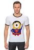 """Футболка Рингер """"Миньон супермен"""" - супермен, superman, миньоны, гадкий я, minion"""