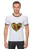 """Футболка """"Рингер"""" (Мужская) """"Fruit Heart"""" - heart, фрукты, fruit, вегетарианство, vegan"""