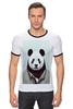 """Футболка """"Рингер"""" (Мужская) """"Деловая панда"""" - медведь, мишка, панда, panda, крутая"""