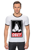 """Футболка Рингер """"Linux (Obey)"""" - пингвин, obey, линукс, unix, повинуйся"""