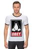"Футболка ""Рингер"" (Мужская) ""Linux (Obey)"" - пингвин, obey, линукс, unix, повинуйся"