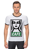 "Футболка ""Рингер"" (Мужская) ""Starbucks (Obey)"" - кофе, obey, starbucks, старбакс, cafe"
