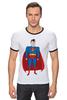 "Футболка ""Рингер"" (Мужская) ""Супермен (Superman)"" - супермен, superman, супергерой, dc"